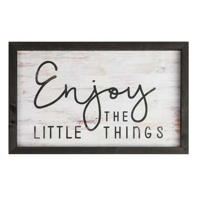 'Enjoy the Little Things' Shadowbox Textual Art on Wood - Birch Lane