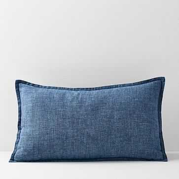"""Belgian Flax Linen Lumbar Pillow Cover, Indigo, Fiber Dye, 12""""x21"""" - West Elm"""
