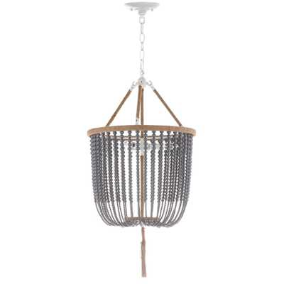 Safavieh Angie Beaded 3-Light Gray Pendant - Home Depot