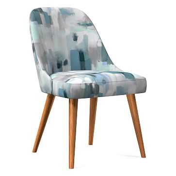 Midcentury Upholstered Dining Chair, Wood Leg, Gray Multi, Painter'S Palette, Pecan - West Elm