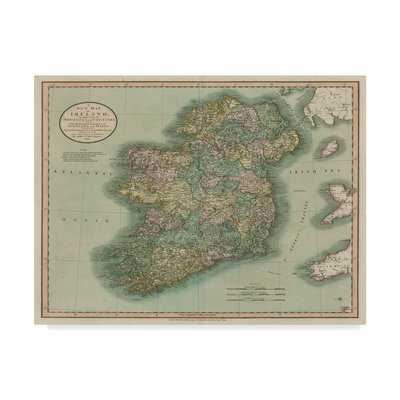 'Vintage Map of Ireland' Graphic Art Print on Canvas - Wayfair