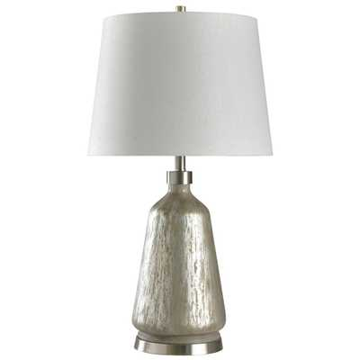 StyleCraft 32 in. Silver Table Lamp with White Styrene Shade - Home Depot