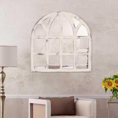 Farmhouse Cathedral Windowpane Arch White Decorative Mirror - Home Depot