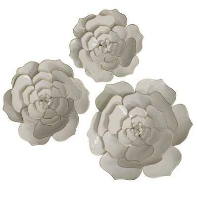 StyleCraft Floral Metal Wall Art - 3-Piece Set, White - Home Depot
