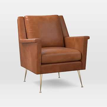 Carlo Mid-Century Chair, Leather, Saddle, Brass - West Elm