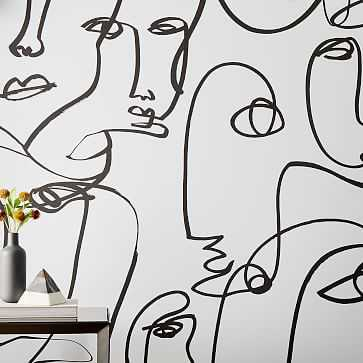 Drop It MODERN Femme Wallpaper, Black/White - West Elm