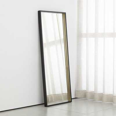 Liam Black Frame Floor Mirror with Brass Inlay RESTOCK Mid June 2021 - Crate and Barrel