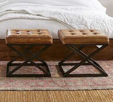Kirkham Tufted Leather Stool, Signature Whiskey - Pottery Barn