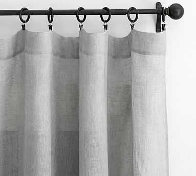 "Belgian Flax Linen Poletop Sheer Drape, 50 x 96"", Gray - Pottery Barn"