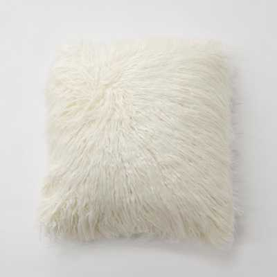 Ivory Faux Mongolian Lamb Fur Pillow - Home Depot