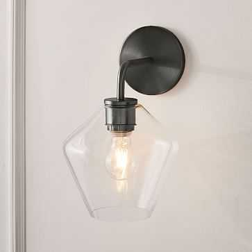Sculptural Glass Geo Sconce, Small Geo, Clear Shade, Bronze Canopy - West Elm