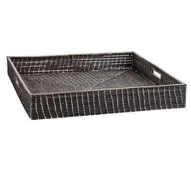 Garrett Black Woven Basket Tray, Oversized - Pottery Barn