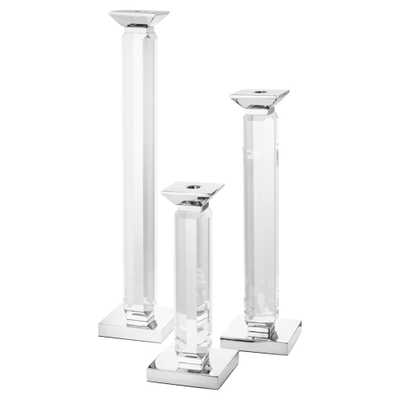 Eichholtz Modern Classic Set of 3 Livia Crystal Candle Stick Holders - Silver - Kathy Kuo Home