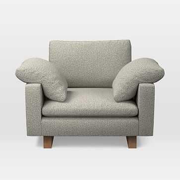 Harmony Chair and a Half, Trillium, Twill, Gravel, Walnut - West Elm