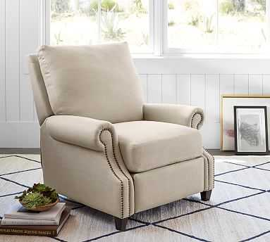 James Upholstered Recliner, Down Blend Wrapped Cushions, Performance Heathered Tweed Ivory - Pottery Barn