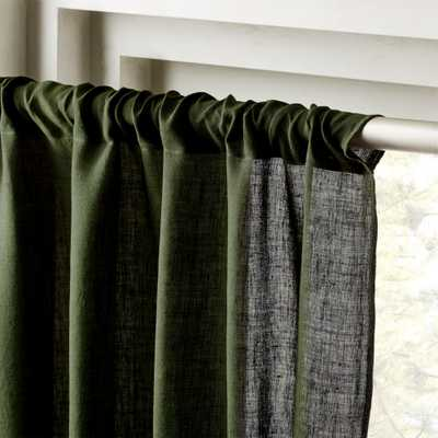 "Forest Green Linen Curtain Panel 48""x84"" - CB2"