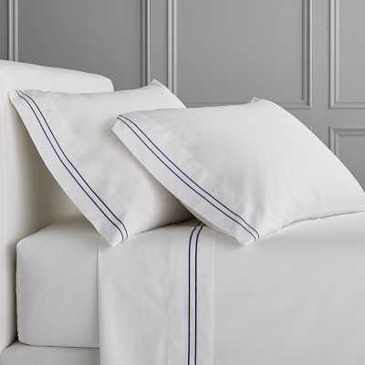 White Hotel Bedding, Cases, Pair, Two-Line, King, Navy - Williams Sonoma