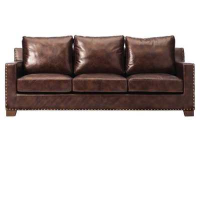 Garrison Brown Leather Sofa - Home Depot