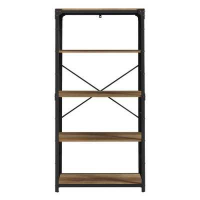 64 in. Rustic Barnwood Rustic Urban Industrial 4-Shelf Angle Iron Wood and Metal Bookshelf - Home Depot