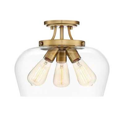 Filament Design 13 in. 3-Light Warm Brass Semi-Flush Mount - Home Depot