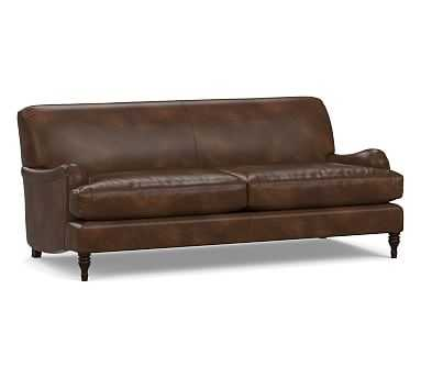 """Carlisle Leather Sofa 80"""", Polyester Wrapped Cushions, Vintage Cocoa - Pottery Barn"""
