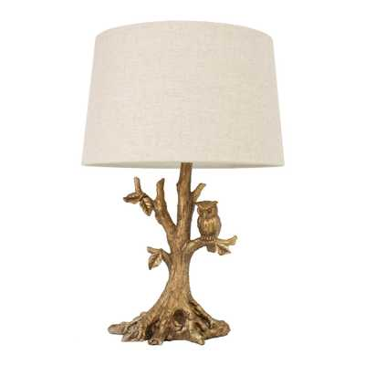 Decor Therapy Owl 27.75 in. Gold Table Lamp with Linen Shade - Home Depot