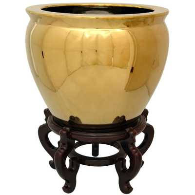 Oriental Unlimited Oriental Furniture 14 in. Solid Gold Porcelain Fishbowl - Home Depot