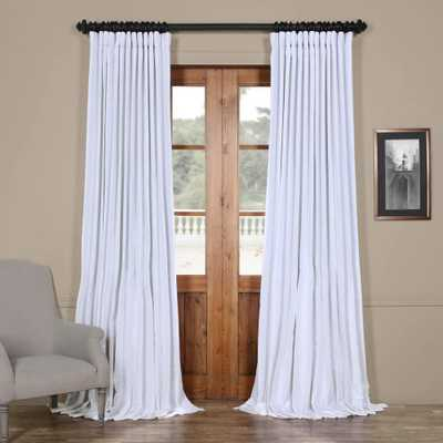 Exclusive Fabrics & Furnishings Ice White Blackout Extra Wide Vintage Textured Faux Dupioni Curtain - 100 in. W x 96 in. L - Home Depot