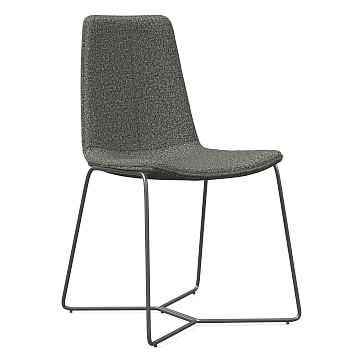 Slope Dining Chair, Charcoal Leg, Twill, Granite, Charcoal - West Elm