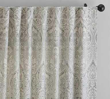 "Mackenna Paisley Linen Cotton Drape, 50x96"", Taupe - Pottery Barn"