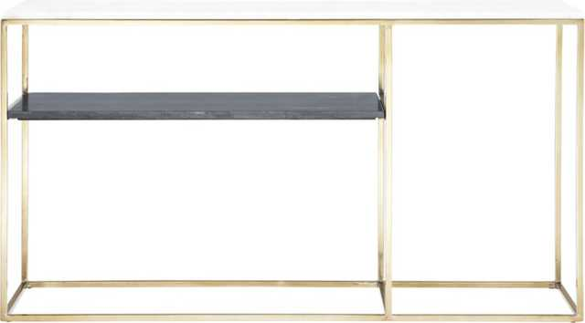 2 tone grey and white marble console - CB2