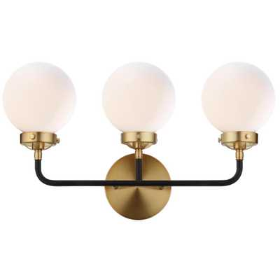 JONATHAN Y Caleb 3-Light 22 in. Brass Gold/Black Wall Sconce - Home Depot