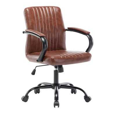 Union Rustic Hervey Bay Swivel Office Chair, Ribbed Pu Leather Upholstery - Wayfair