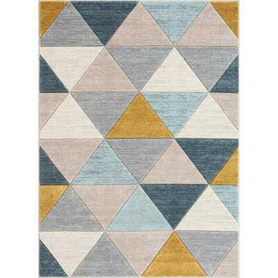 Ruby Rita Mid-Century Modern Geometric Triangles Blue/Mint/Ivory Area Rug - Wayfair