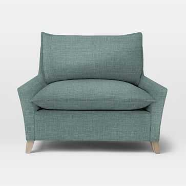 Bliss Down-Filled Chair-and-a-Half, Down Blend, Heathered Weave, Eucalyptus - West Elm