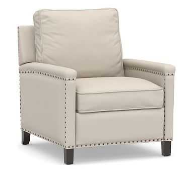 Tyler Square Arm Upholstered Recliner with Bronze Nailheads, Down Blend Wrapped Cushions, Performance Brushed Basketweave Oatmeal - Pottery Barn