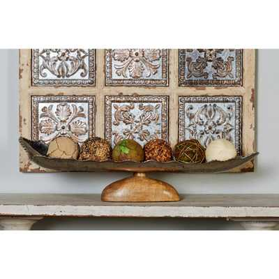 Silver and Brown Canoe-Shaped Pedestal Dish, Multi - Home Depot