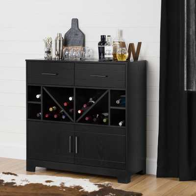 Vietti Bar Cabinet with Bottle Storage and Drawers, Black Oak - Home Depot