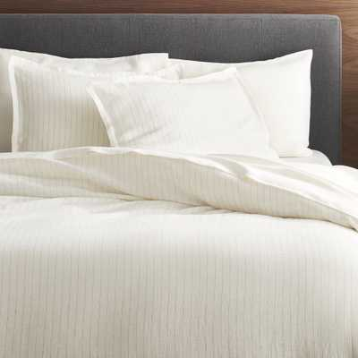 Linen Pinstripe Warm White Full/Queen Duvet Cover - Crate and Barrel