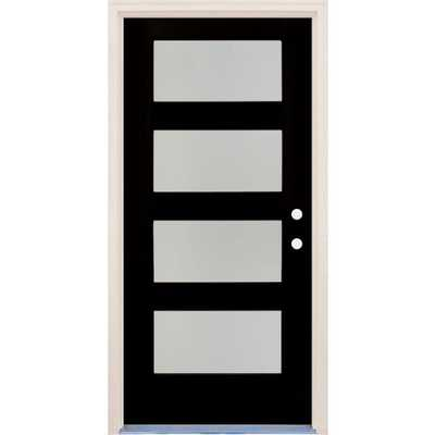Builders Choice 36 in. x 80 in. Elite Inkwell LH 4Lite Satin Etch Glass Contemporary Painted Fiberglass Prehung Front Door w/ Brickmould - Home Depot