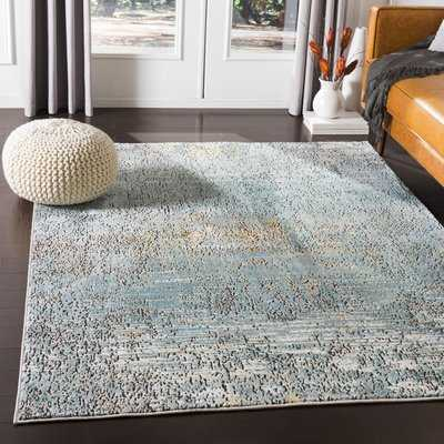 Kaiden Distressed Abstract Teal/Butter Area Rug - Wayfair