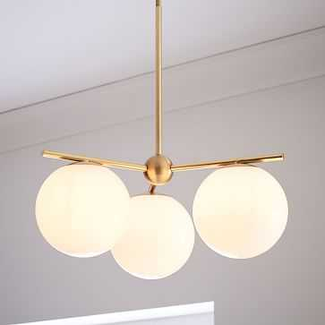 Sphere + Stem Convertible Flushmount, Brass/Milk Glass, 3-Light - West Elm