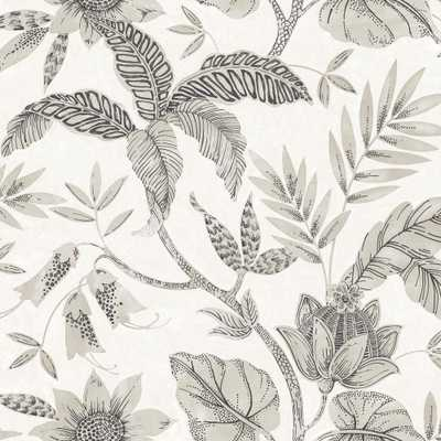 Seabrook Designs Rainforest Leaves Ivory and Stone Botanical Wallpaper - Home Depot