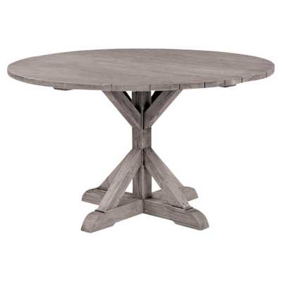 Kingsley Bate Provence French Grey Teak Outdoor Round Dining Table - 59 inch - Kathy Kuo Home