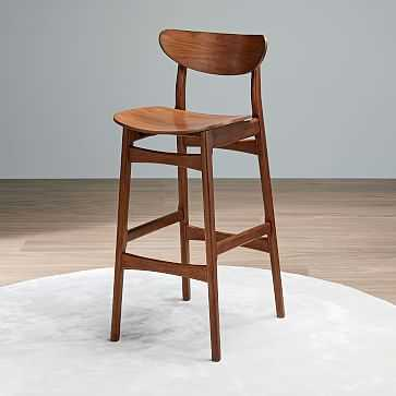 Classic Cafe Bar Stool, Walnut - West Elm