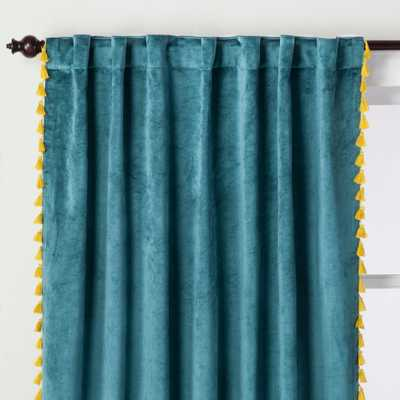 Velvet Curtain Panel with Yellow Tassels Teal Green 95 - Opalhouse - Target