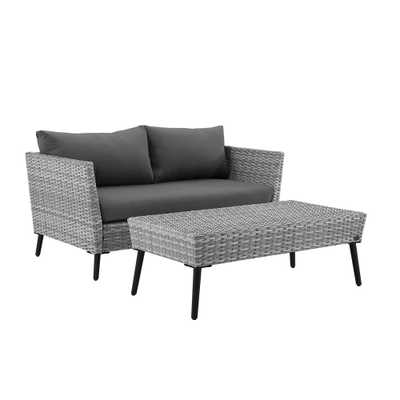 Crosley Richland 2-Piece Wicker Patio Seating Set with Grey Cushions - Home Depot