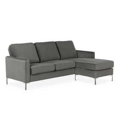 Novogratz Chapman Gray Velvet Sectional Sofa with Chrome Legs - Home Depot