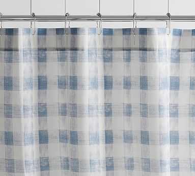 Rhett Check Shower Curtain, Blue Multi - Pottery Barn