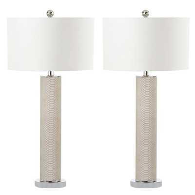Safavieh Ollie 31.5 in. Cream Table Lamp (Set of 2) - Home Depot